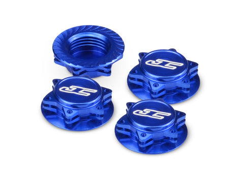JCONCEPTS FIN 1/8 SERRATED WHEEL NUTS - BLUE , Wheel nuts - JConcepts, Fastlaphobby.com LLC