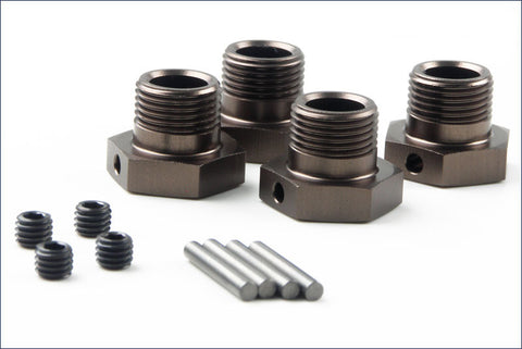 KYOSHO 17MM ANODIZED ALUMINUM HEX WHEEL HUBS - GUNMETAL , Wheel Hex - Kyosho, Fastlaphobby.com LLC
