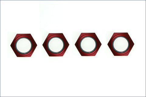 KYOSHO 17MM NYLON LOCKING WHEEL NUT RED ANODIZED , Wheel nut - Kyosho, Fastlaphobby.com LLC