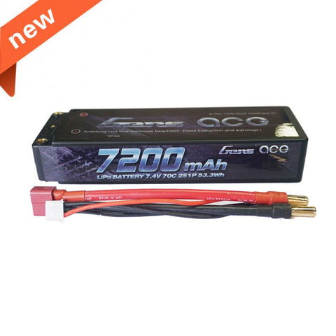 GENS ACE 7200mAH 7.4V 70C 2S1P HARDCASE LIPO BATTERY PACK W/4.0MM BANANA TO DEANS PLUG , LIPO Batteries - GensAce, Fastlaphobby.com LLC  - 1