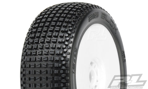 PRO-LINE BIG BLOX X4 SUPER SOFT OFF-ROAD 1/8 BUGGY TIRES MNTD ON LIGHTWEIGHT VELOCITY WHITE WHEELS - 2 - F/R , 1/8 buggy wheels & Tires combo - Pro-Line, Fastlaphobby.com LLC