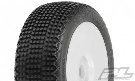 PRO-LINE LOCKDOWN X2 (MED) OFF-ROAD 1:8 BUGGY TIRE MOUNTED ON LIGHTWEIGHT VELOCITY WHITE WHEELS (2) , 1/8 buggy wheels & Tires combo - Pro-Line, Fastlaphobby.com LLC