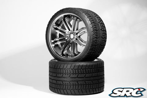 SRC ROAD CRUSHER TIRES ON SILVER SPOKE WHEEL - PRE-MOUNTED , monster truck tires - SRC, Fastlaphobby.com LLC