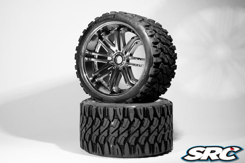 SRC TERRAIN CRUSHER BELTED TIRES ON SILVER SPOKE WHEELS - PRE-MOUNTED , monster truck tires - SRC, Fastlaphobby.com LLC