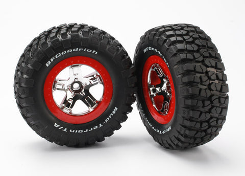 TRAXXAS TIRES / WHEELS ASSEMBLED RED BEADLOCK SLASH VXL (2) , SCT wheels & tires - Traxxas, Fastlaphobby.com LLC