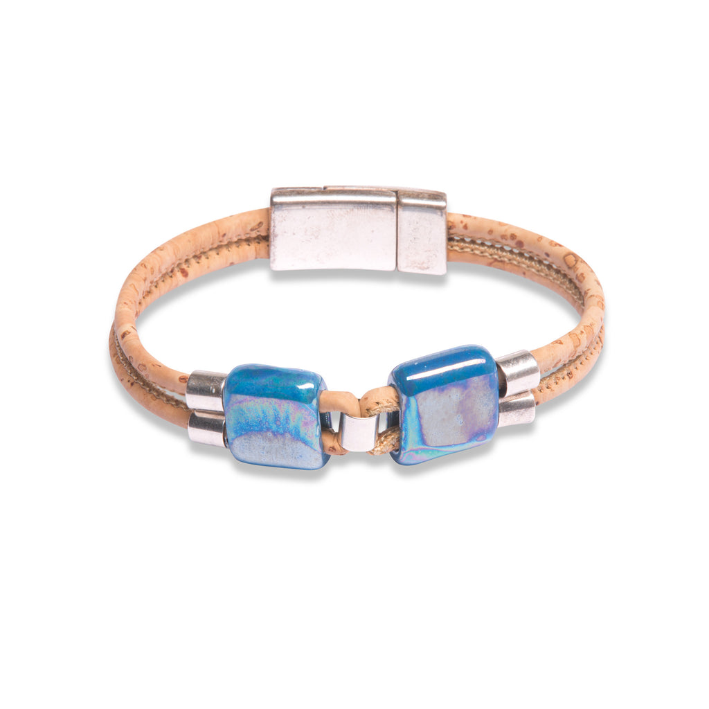 Beige Bracelet with Blue Ceramics - Cork