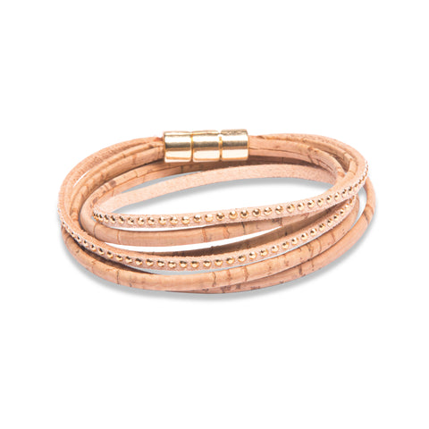 Double Wrap Beige Bracelet with Gold