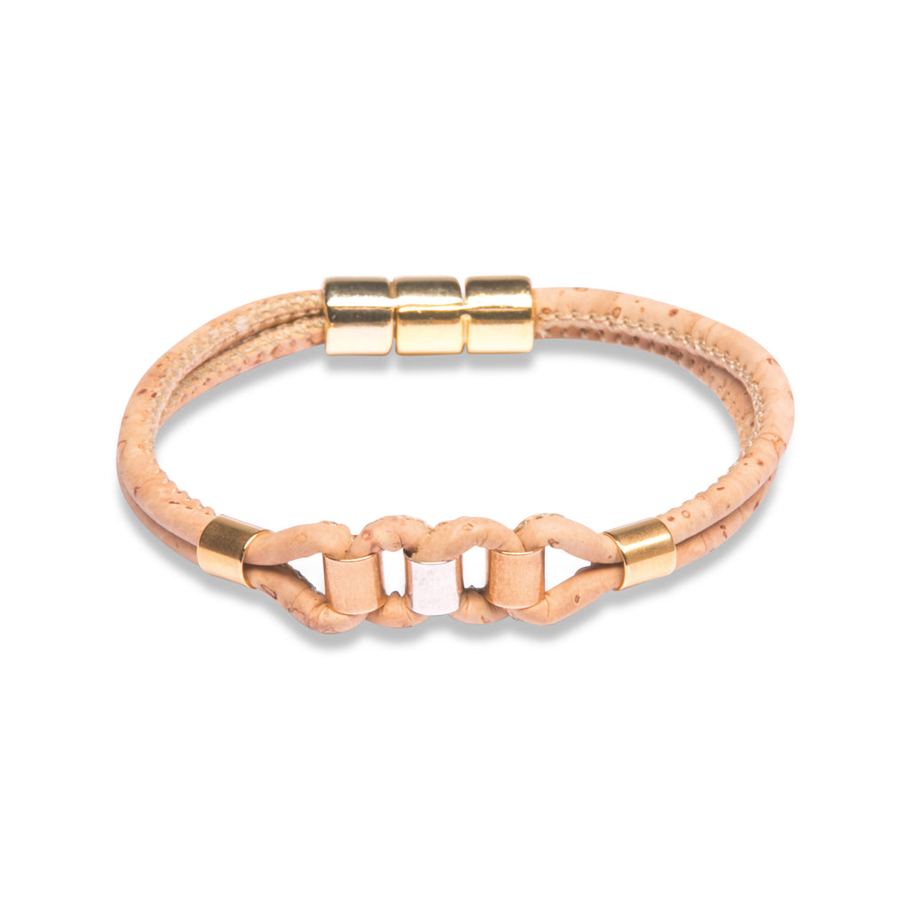Beige Bracelet with gold, silver and rose gold - Cork