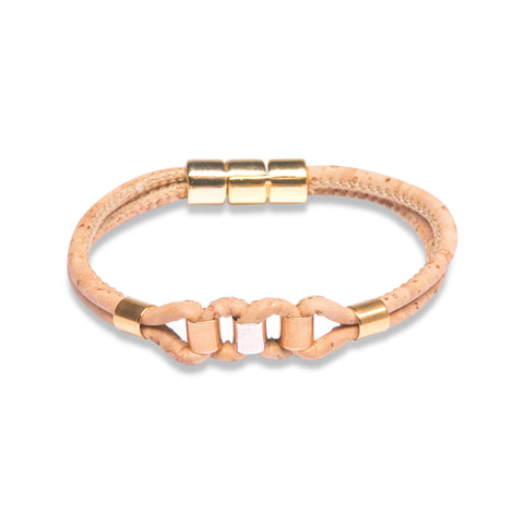 Beige Bracelet with gold, silver and rose gold