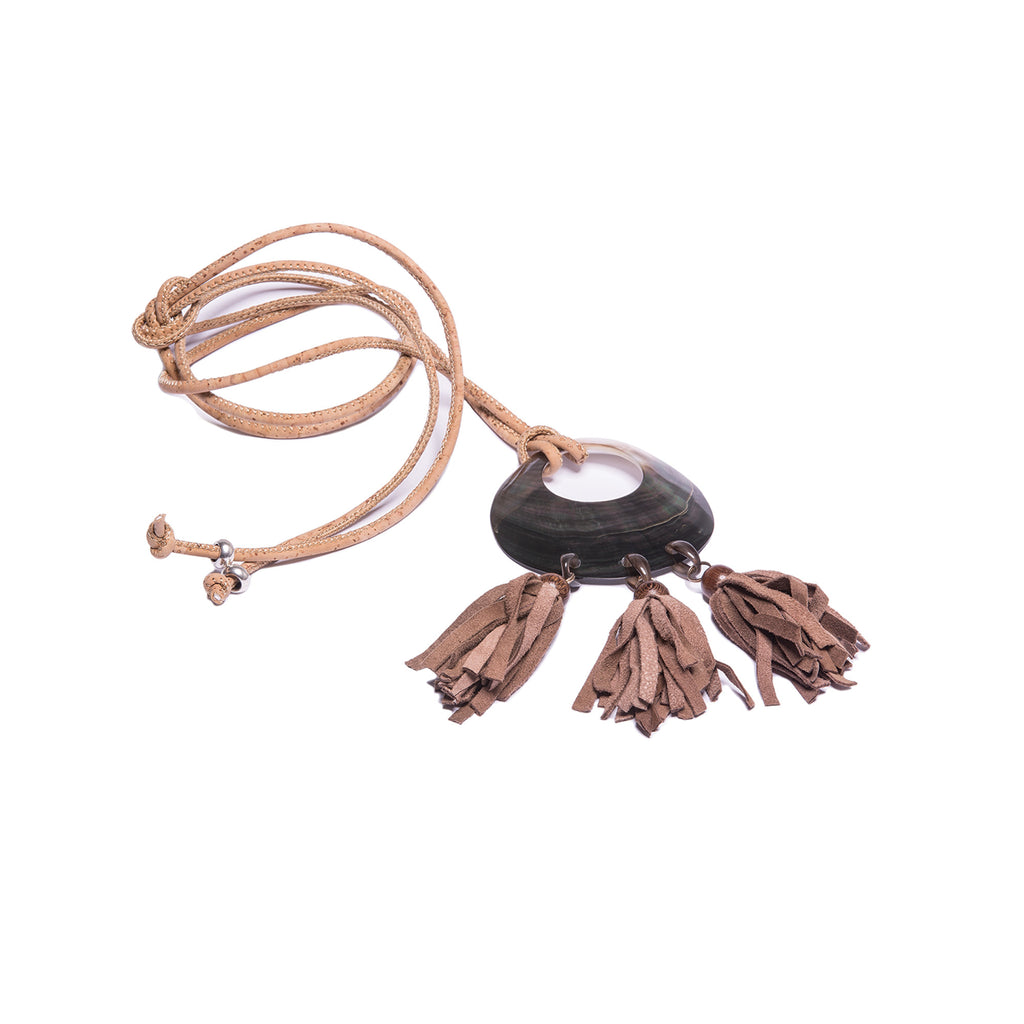 Long Beige Necklace with Tassels - Cork