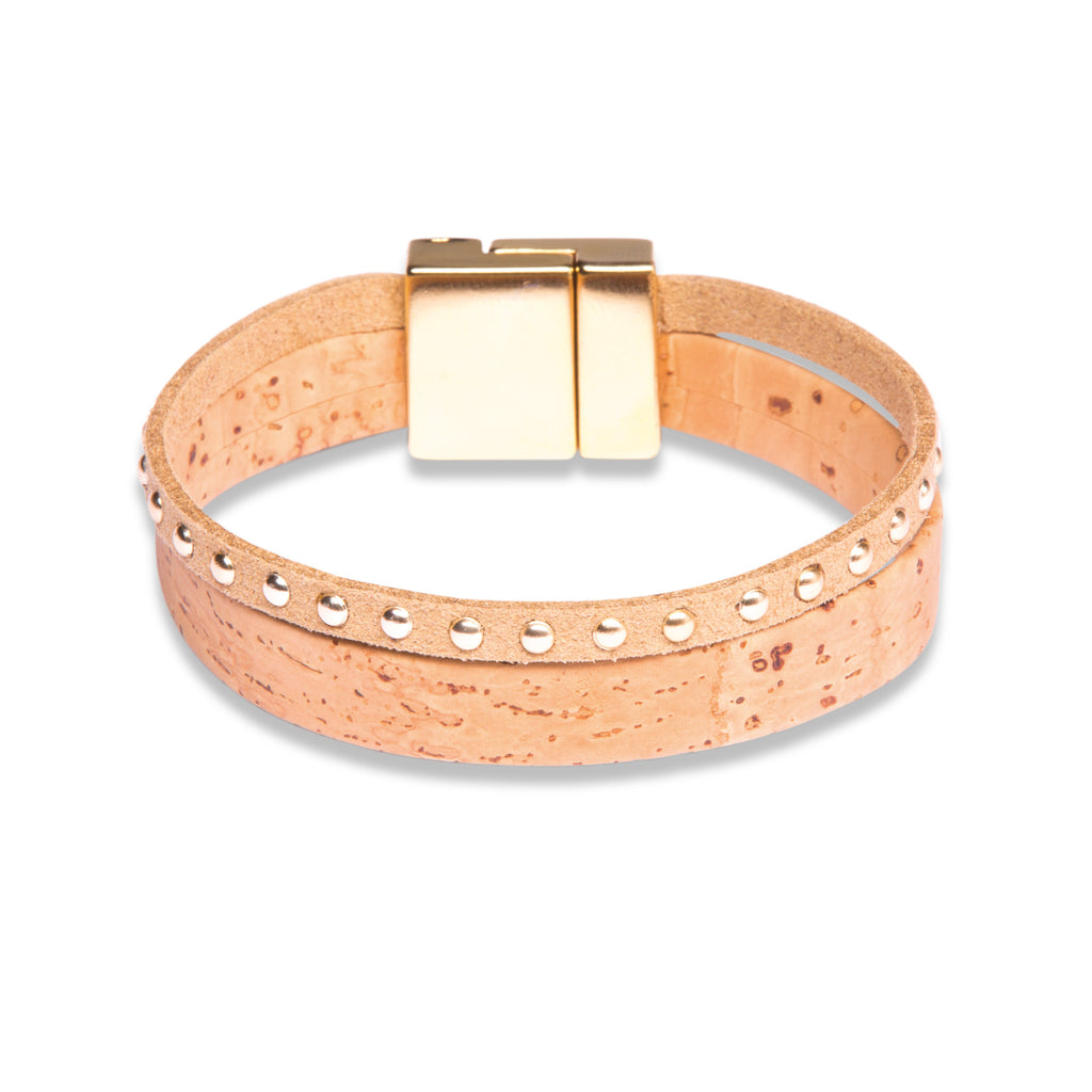 Beige Double Bracelet with Gold - Cork