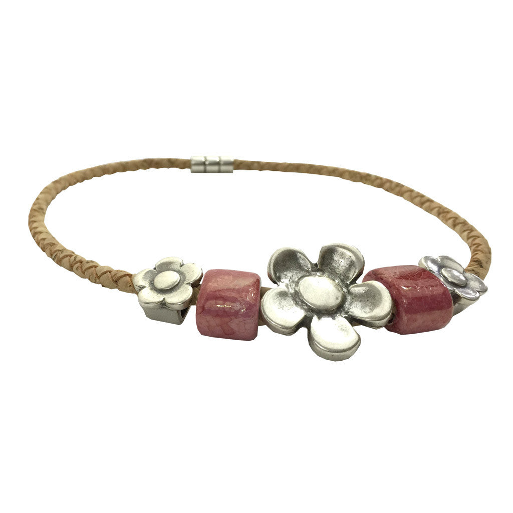 Flower Necklace, Pink - Cork