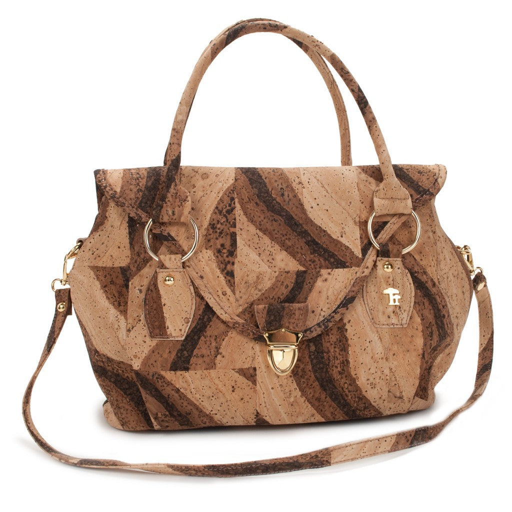 Satchel with Strap, Bengal Tiger Shoulderbag - Cork