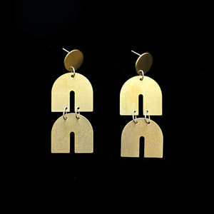 Brass Cosmic Ray Earrings