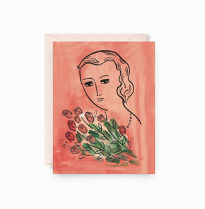 Woman with Roses Card