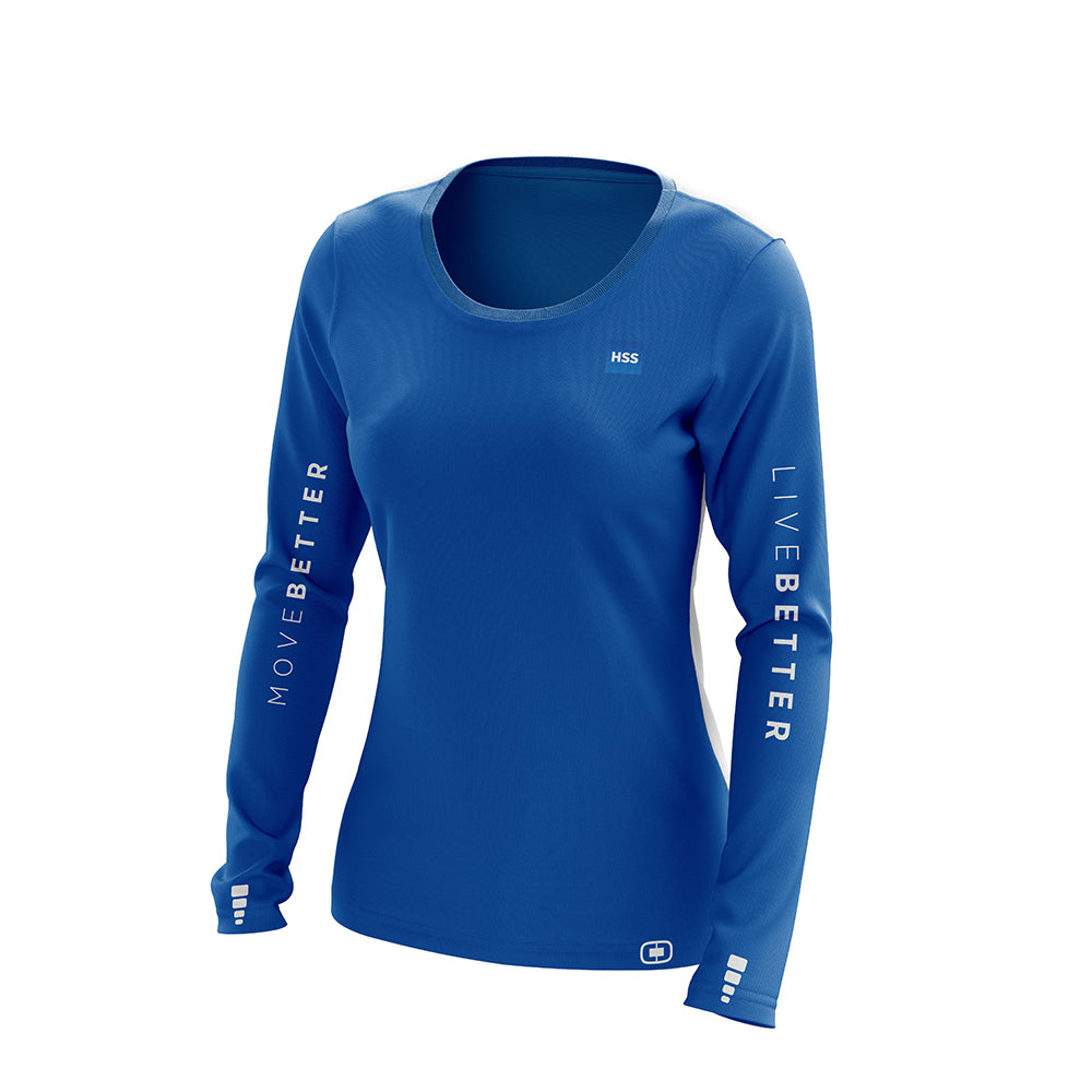 Women's Blue Long Sleeve Performance Shirt