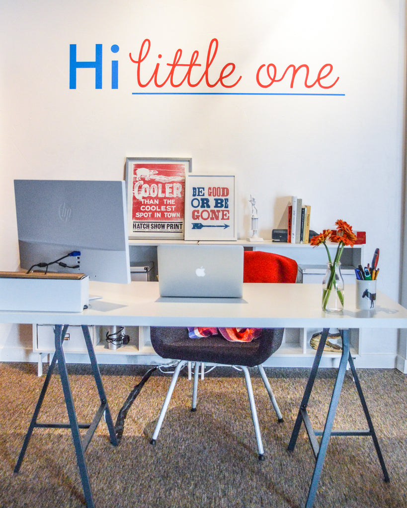 Nell's desk at the new Hi Little One studio