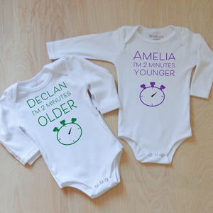 Twining - 2 Minutes Younger and Older Onesie Set