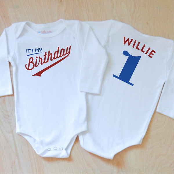 Little League Personalized Birthday Onesie