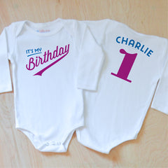 Little League Personalized Birthday Onesie at Hi Little One