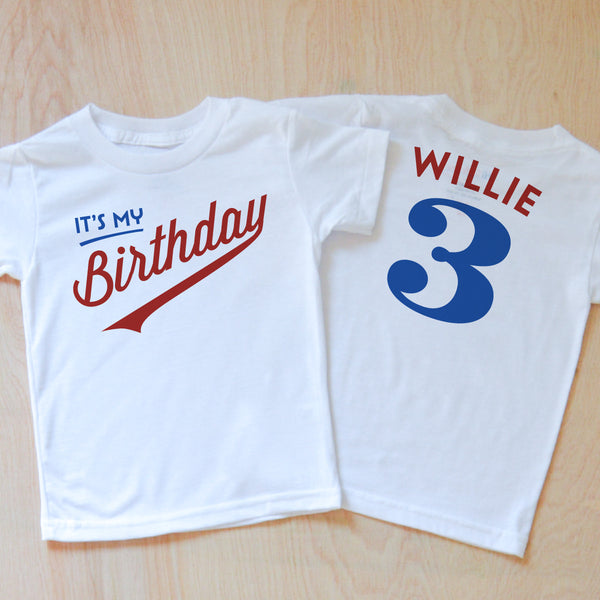 Little League Personalized Kids Birthday T-shirt