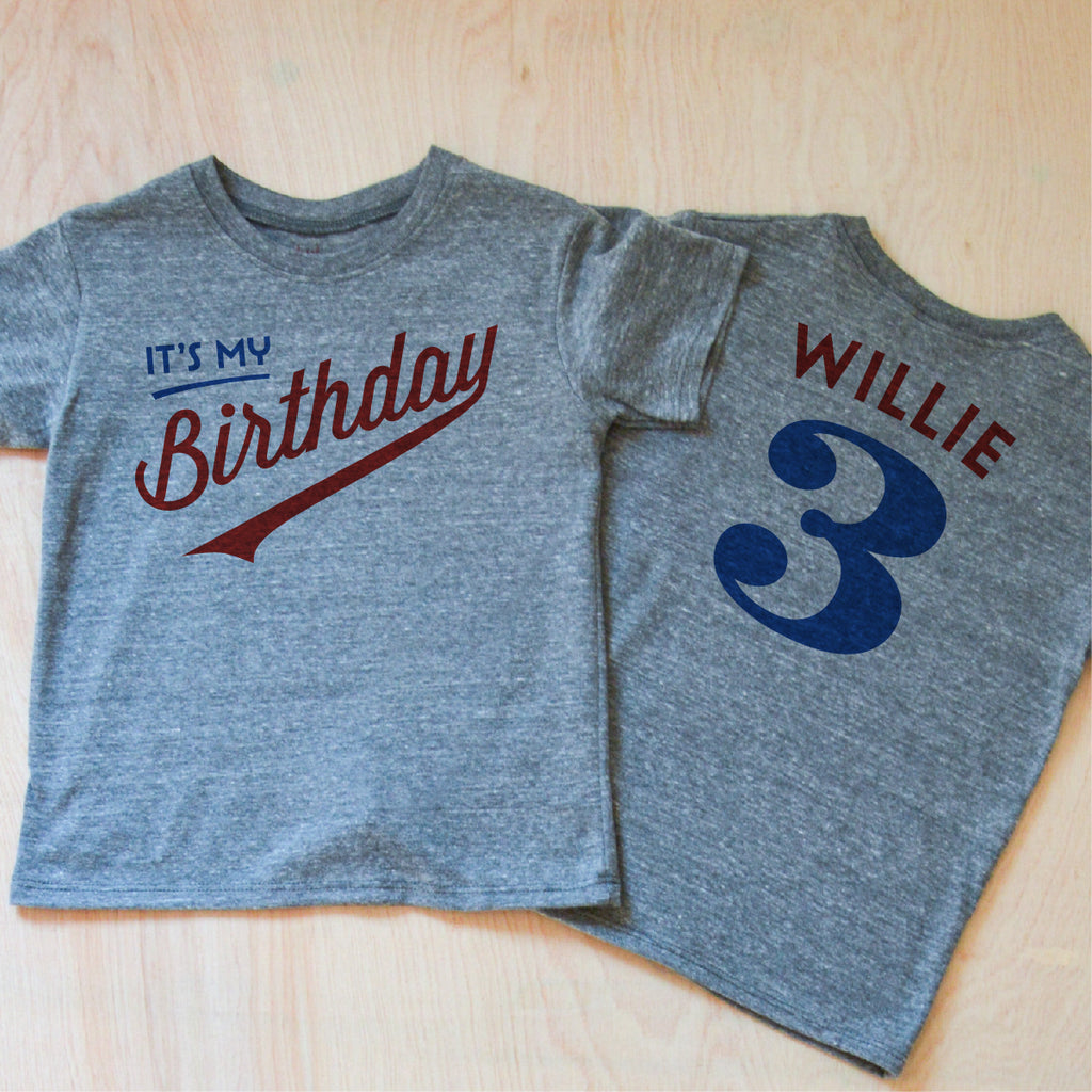 Little League Personalized Kids Birthday Gray T-shirt