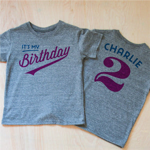 Little League Personalized Kids Birthday Gray T-shirt at Hi Little One