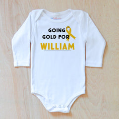 Personalized Going Gold Onesie {Children's Cancer Awareness Month}