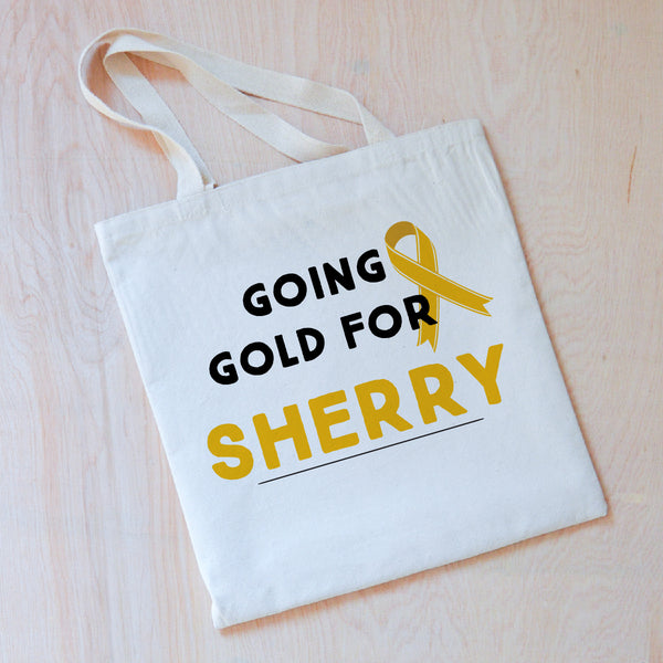 Personalized Going Gold Tote {Children's Cancer Awareness Month} at Hi Little One