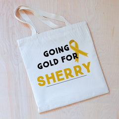 Personalized Going Gold Tote {Children's Cancer Awareness Month}