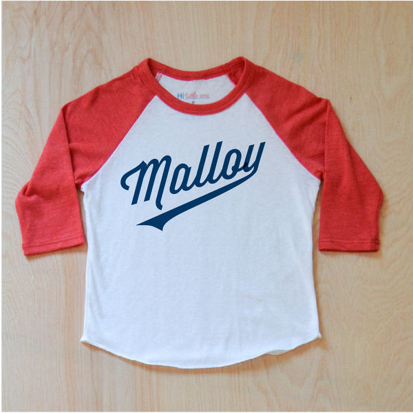 Little League Personalized Red Raglan