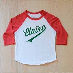 Little League Personalized Red Raglan at Hi Little One