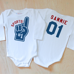 Varsity Sports! Onesie (Personalizable) at Hi Little One