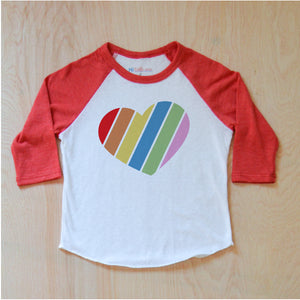 Love Rules Rainbow Heart Raglan at Hi Little One