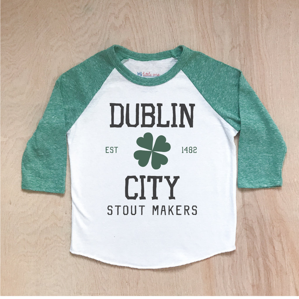 Dublin City Stout Makers Green Raglan at Hi Little One