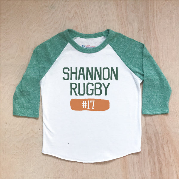 Shannon Rugby Green Raglan at Hi Little One