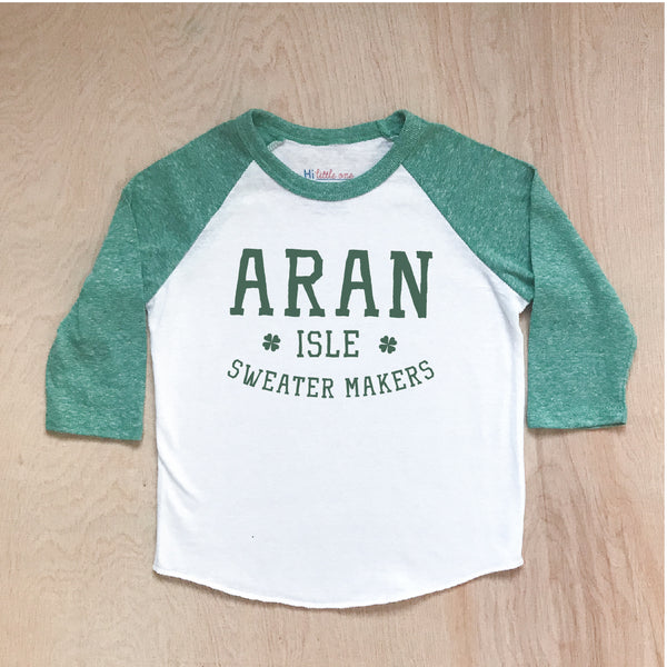 Aran Isles Sweater Makers Green Raglan at Hi Little One