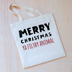 Merry Christmas (Ya Filthy Animal) Tote at Hi Little One
