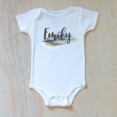 Personalized Boho Feather Onesie at Hi Little One