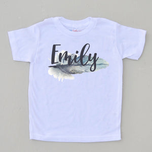 Custom Feather Boho T-Shirt at Hi Little One