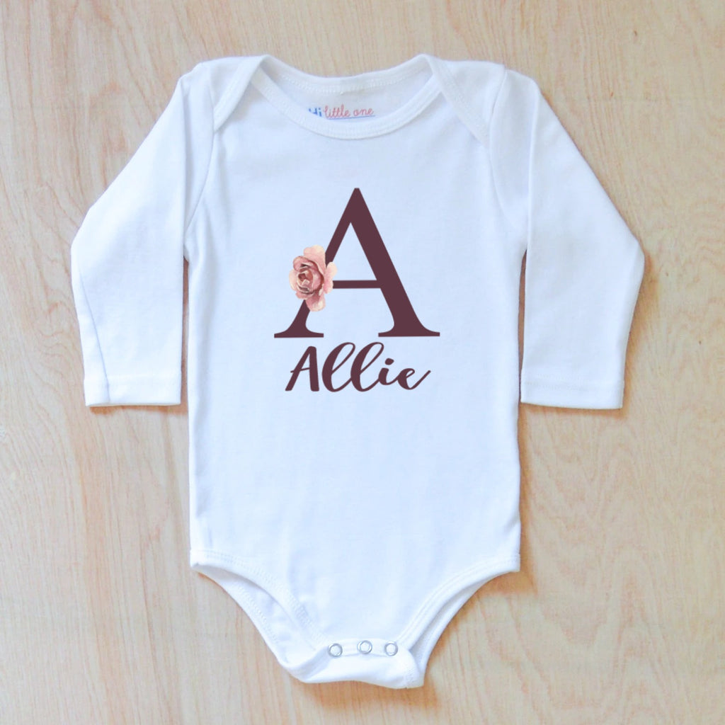 Personalized Initial Boho Onesie at Hi Little One