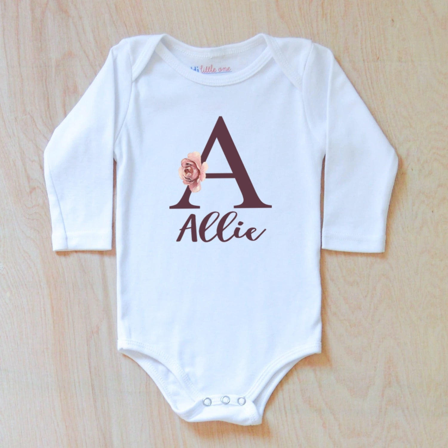 Personalized Initial Name baby bodysuit