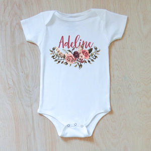Personalized Floral Boho Onesie at Hi Little One