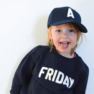 Toddler Baseball Hat with Vintage Wool Lettering at Hi Little One