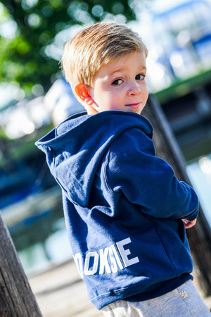 Personalized Full-Zip Hooded Sweatshirt with Vintage Wool letters | Infant, Toddler and Youth