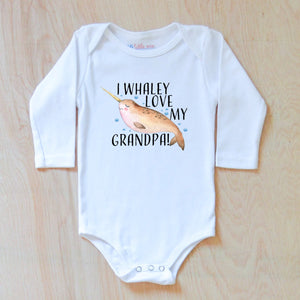 """I Whaley Love You"" Personalized Narwhal Onesie for Baby at Hi Little One"