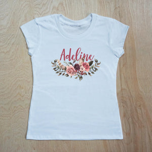 Floral Boho Personalized T-Shirt at Hi Little One