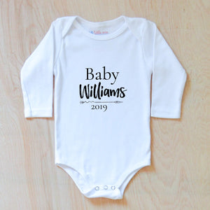 Baby Announcements Personalized Onesie at Hi Little One