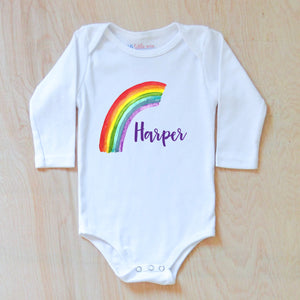 Rainbow Baby Announcement Personalized Onesie at Hi Little One