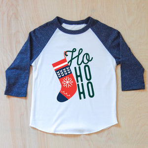 Ho Ho Ho Merry Christmas Stocking Raglan at Hi Little One